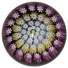 Perthshire Concentric Millefiori Miniature Paperweight-Magenta