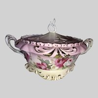 R S Prussia Biscuit Jar-Roses with Gold Highlights