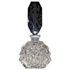 Czechoslovakia Cut Crystal Perfume Bottle-Nude Stopper