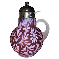 L G Wright by Fenton Daisy and Fern Syrup Pitcher-Cranberry Satin