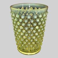 Fenton Opalescent Hobnail Juice Glass-Uranium