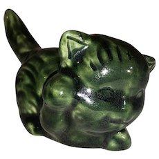 Van Briggle Cat/Kitten Figurine-Green