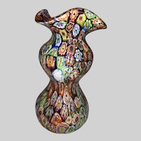 Italian Millefiori Art Glass Gourd Vase 1950's
