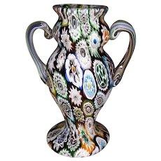 Italian Art Glass Millefiori Handled Urn Vase