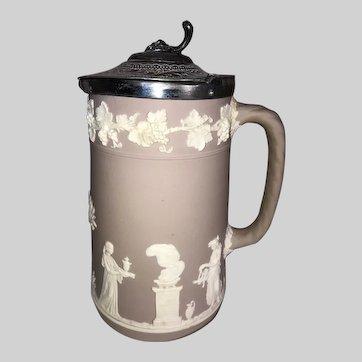 Wedgwood Jasperware Lilac Lidded Tankard Pitcher-Pre 1891