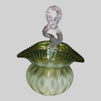 Thorn Handle Art Glass Basket-Bohemian