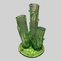 Uranium Art Glass Three Stem Thorn Bud Vase