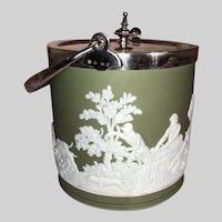 Wedgwood Jasperware Sage Green Biscuit Jar-Hunt Scene