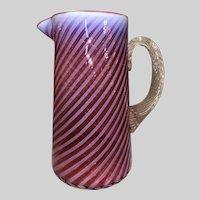 Phoenix Art Glass Cranberry Opalescent Tankard Pitcher