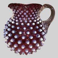 Hobbs Brockunier Cranberry Hobnail/Dewdrop Milk Pitcher
