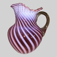 Cranberry Opalescent Swirl Water Pitcher