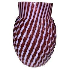 Cranberry Opalescent Reverse Swirl Celery Vase