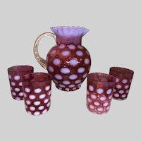 Cranberry Opalescent Coinspot Beverage Set