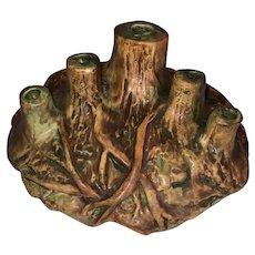Weller Pottery Woodcraft Tree Stump Flower Frog
