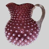 Hobbs Brockunier Cranberry Opalescent Hobnail/Dewdrop Water Pitcher