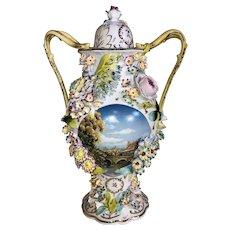 French Porcelain Baluster Form Handled Covered Urn