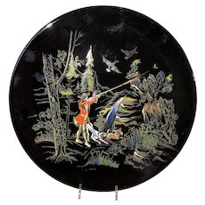 Vintage Black Longwy Charger-Hunting Scene-1960's