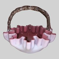 European Art Glass Handled Basket-Pink Cased