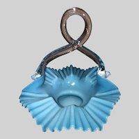 European Art Glass Handled Basket-Blue Cased