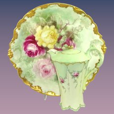 Hand Painted Artist Signed GDA Charger with Haviland Limoges Chocolate Pot Roses