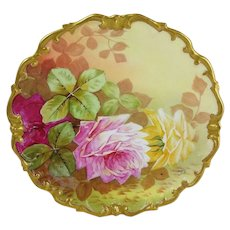 Hand Painted - Artist Signed - French Limoges - Porcelain - Plaque - Charger - Plate - Multicolored Cabbage Roses - One-of-a-Kind - Circa 1920's - Treasured Heirloom