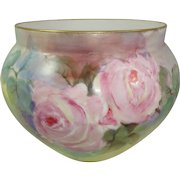 Antique French Limoges Jardiniere Vase Hand Painted Pink Roses
