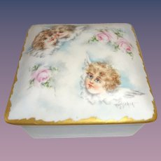 French Limoges Jewelry Box Casket Hand Painted Cherubs Artist Signed