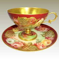 Amazingly Beautiful Cup Saucer Hand Painted Chrysanthemums Heavy Gilt Design