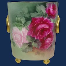 Guerin Limoges Cache Vase Hand Painted Roses