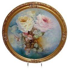 "Vintage 16"" Framed French JPL Limoges Charger Hand Painted Roses"