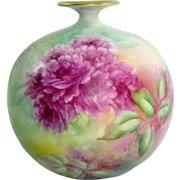 Antique CAC Belleek Bulbous Vase Hand Painted Roses