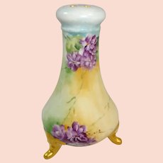 Limoges France Porcelain Hat Pin Holder Hand Painted Violets