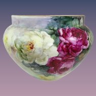 Enormous Austria Jardiniere Vase Hand Painted Roses Artist Signed