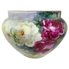 Enormous Austria Jardiniere Vase Hand Painted Roses Artist Signed