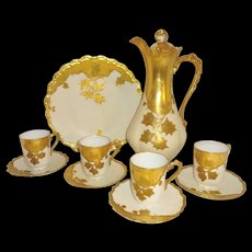Antique French Limoges Chocolate Set Hand Painted Golden Foliage