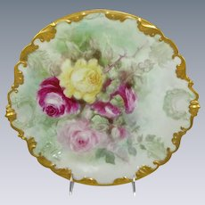 Antique Limoges Charger Plate Hand Painted Roses Signed Dated 1906