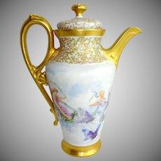 Antique Limoges Tea Pot Hand Painted Butterflies Cherubs Jeweled