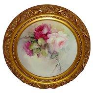Beautiful Framed Bavaria Bavarian Plate Hand Painted Roses