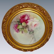 Beautiful Framed Bavaria Bavarian Plate Hand Painted Roses