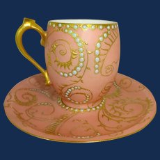 Beautiful Hand Painted Artist Signed Cup and Saucer Jeweled