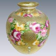 Nippon Japan Petite Gold Vase with Tea Roses Jeweled