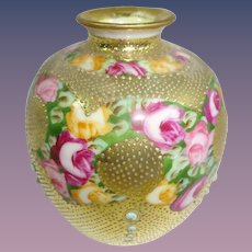 Nippon Japan Petite Gold Vase with Tea Roses Jeweled
