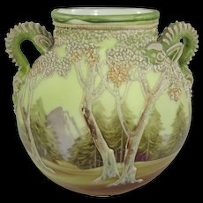 Nippon White Woodland Moriage Vase with Serpentine Handles