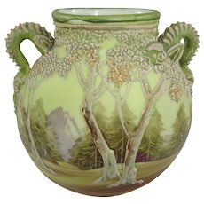 Nippon White Woodland Moriage Vase with Serpentine Handles