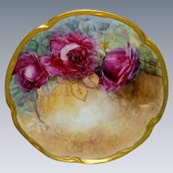 Stunning Antique German Bavaria Plate Hand Painted Crimson Roses