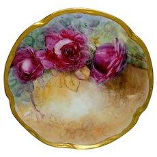 Stunning Antique German Bavaria Plate Hand Painted Crimson Roses