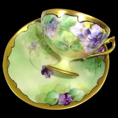 Rosenthal Pickard Cup Saucer Hand Painted Violets Signed Reury