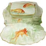 Antique Limoges Hand Painted Sardine Fish Set Signed Dated 1915