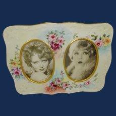 Antique Limoges Double Porcelain Frame Hand Painted Tea Roses