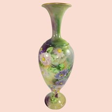 Antique CAC Belleek Vase with Hand Painted Chrysanthemums Museum Quality